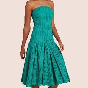 Anthropologie Green Embroidered Midi Dress
